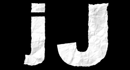 Crumple paper alphabet - J