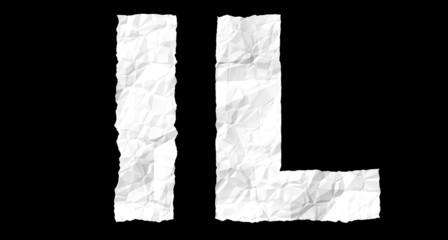 Crumple paper alphabet - L