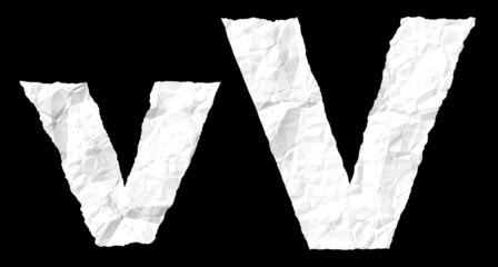 Crumple paper alphabet - V