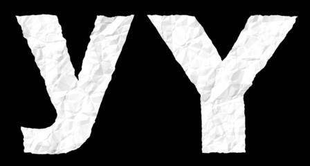 Crumple paper alphabet - Y