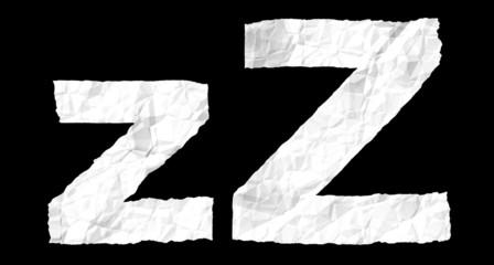 Crumple paper alphabet - Z
