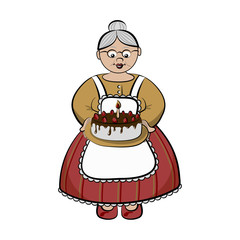 Papiers peints Le vous même Old lady with birhday cake