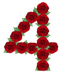Number 4  made from  red roses and green leaves