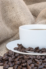 Close up of coffe cup and saucer surrounded by beans on hessian