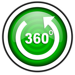 360 degrees panorama green glossy icon isolated