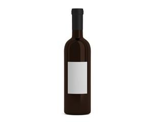 Weinflasche braun mit Etikett klein