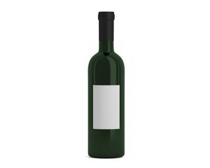 Weinflasche grün mit Etikett klein