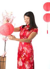 chinese girl preparing for chinese new year
