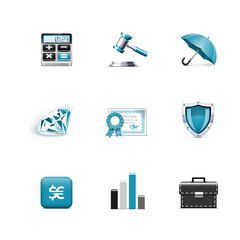 Finance and bank icons. Azzurro series