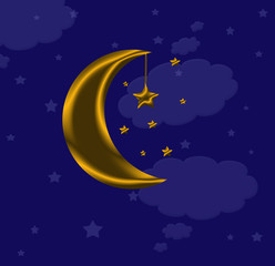blue background with clouds, the new moon and the stars
