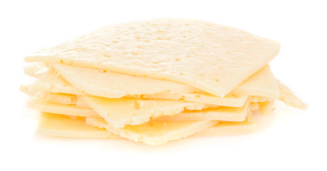cheese slices on white background with parsley.