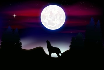a wolf howling at the full moon