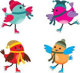 Birds on ice skates