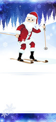 Cheerful Santa Claus on skis