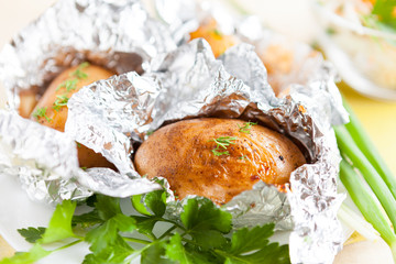 brown potatoes baked in foil