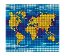 Keuken foto achterwand Wereldkaart Pixel world map