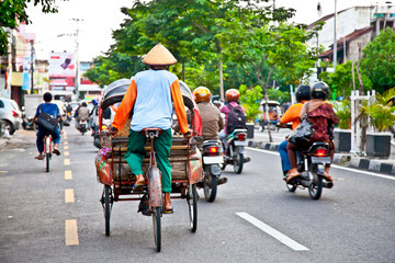Poster Indonesia View of Yogyakarta with its typical hundreds of motorbikes on th