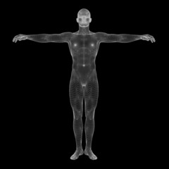 High resolution conceptual 3d man over black background