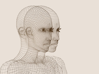 3D woman head made of brown wireframe isolated on beige