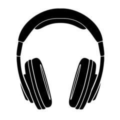 Simple Headphones in Silhouette, vector