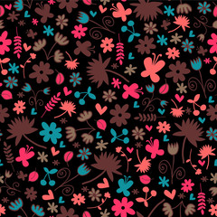 Seamless pattern wtih sweet floral elements