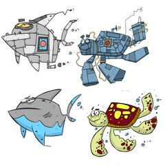 Robot Shark and Turtle