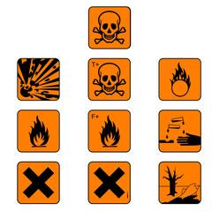 Set of chemicals hazard symbols, vector