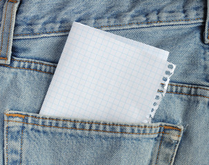 Paper in the jeans pocket