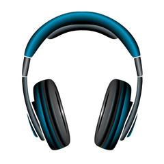 blue Simple Headphones in Silhouette, vector