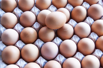 twenty four of brown eggs in box