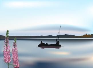 fisherman silhouettes in large lake