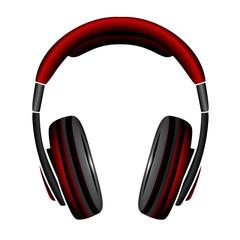 red Simple Headphones in Silhouette, vector