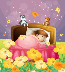 Canvas Prints Bears A girl sleeping in her bed