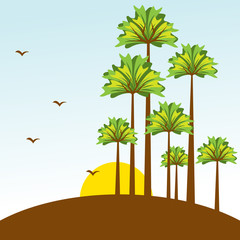 vector illustration of tree in nature landscape