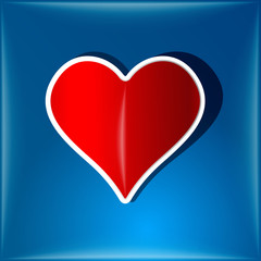 Heart symbol on blue background