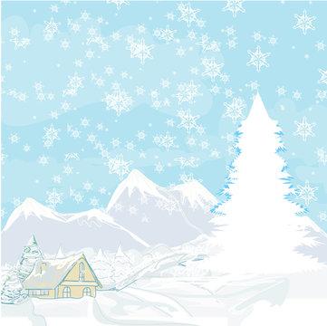 winter landscape - vector