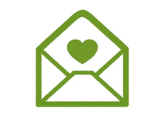 Four Leaf Clover of Open Envelope Icon with Heart Icon