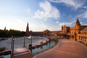 Wall Mural - charming Plaza de Espana in Seville at sunset