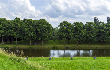 Summer landscape at the medieval fort of Naarden in the Netherla