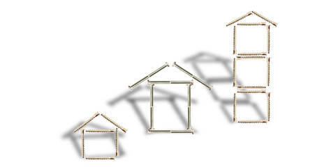 Design of three houses from bolts