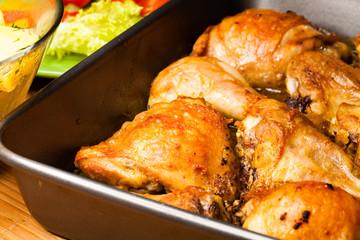 Roast chicken in a dish