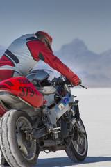 Wall Mural - Super bike in Bonneville Salt Flats