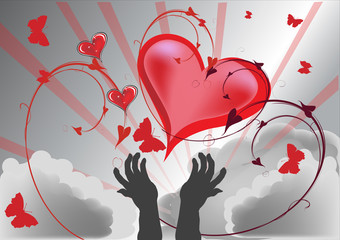 human hands and red hearts on sky background