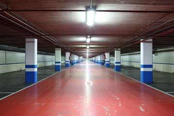 Empty underground garage in a residential building