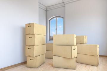 Viele Umzugskartons in einer Wohnung
