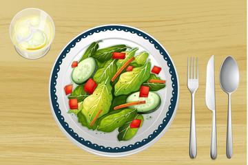 A garnished salad