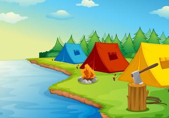 Canvas Prints River, lake Camping