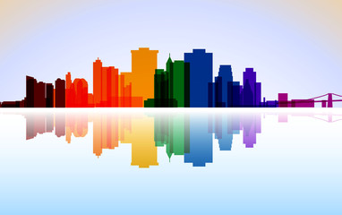 Colorful City Manhattan panorama, vector