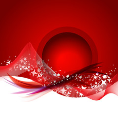 Abstract smooth lines vector background in red color.