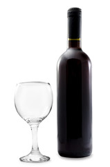 Wine bottle with empty glass